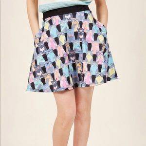 Cat with glasses A line skirt with pockets